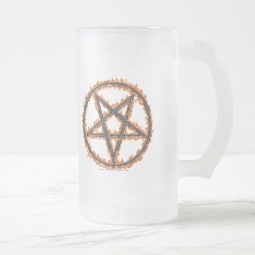 Burning Inverted Pentagram Frosted Glass Beer Mug