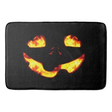 Halloween Themed Burning Jack Bath Mat
