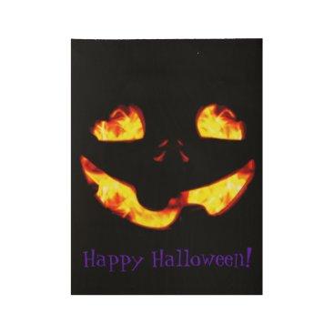 Halloween Themed Burning Jack Wood Poster