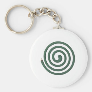 Burning mosquito coil basic round button keychain
