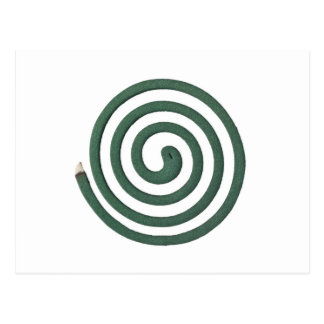 Burning mosquito coil postcard
