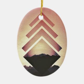 Burning Mountain Landscape Ceramic Ornament