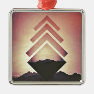Burning Mountain Landscape Metal Ornament