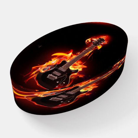 Burning Music Note Oval Paperweight