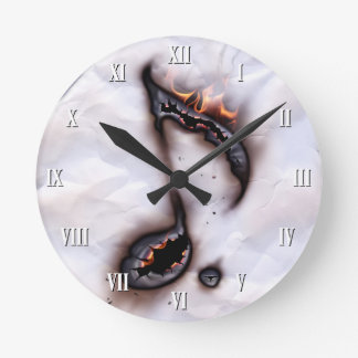 Burning Music Note Wall Clock