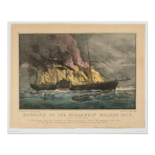 Burning of the Steamship Golden Gate (0144A) Poster