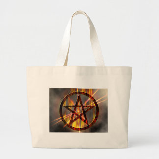 Burning Pentagram Large Tote Bag