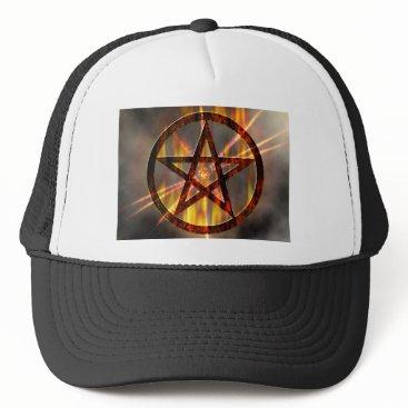 Halloween Themed Burning Pentagram Trucker Hat