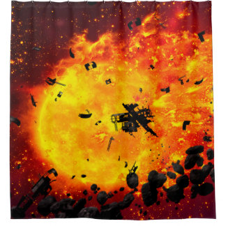Burning Planet Shower Curtain