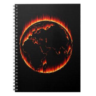 Burning Planet Spiral Notebook