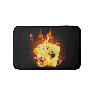 Burning Poker Cards Bath Mats