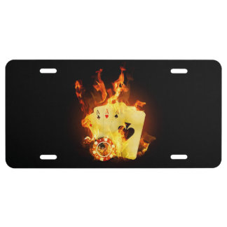 Burning Poker Cards License Plate
