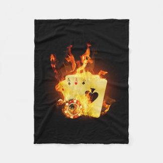 Burning Poker Cards Small Fleece Blanket