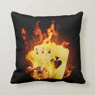 Burning Poker Cards Throw Pillow