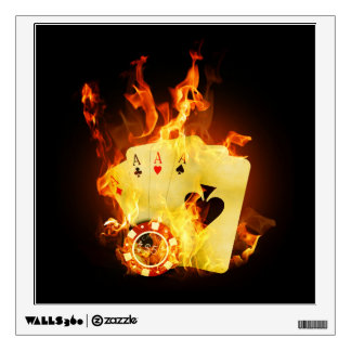 Burning Poker Cards Wall Decal