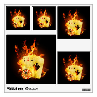 Burning Poker Cards Wall Decals