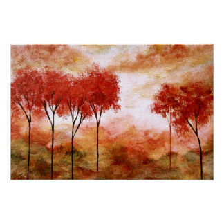 Burning Promise,Abstract Landscape Red Trees Large Poster