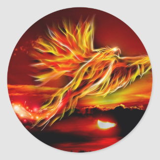 Burning Red Flying Phoenix Garden of Tarot Classic Round Sticker