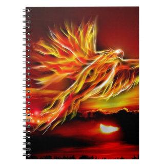 Burning Red Flying Phoenix Garden of Tarot Spiral Notebook