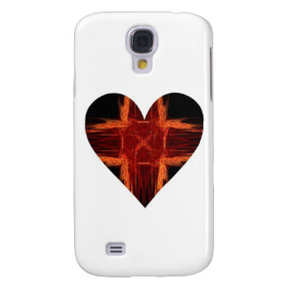 Burning Red Fractal Art Heart Galaxy S4 Cover
