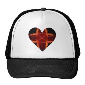 Burning Red Fractal Art Heart Mesh Hat