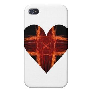 Burning Red Fractal Art Heart iPhone 4 Cases