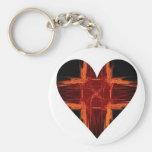 Burning Red Fractal Art Heart Keychains