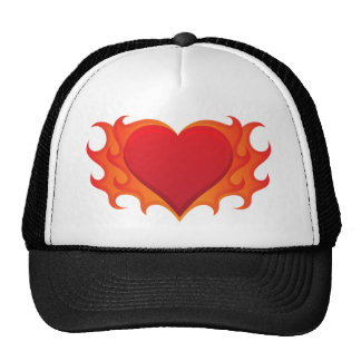 Burning red heart engulfed in flames hat