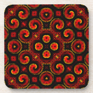 Burning Red Magma Waves Big Paper Cut Out Coasters