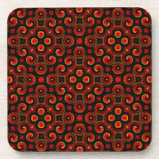 Burning Red Magma Waves Small Paper Cut Out Drink Coaster