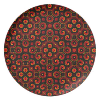Burning Red Magma Waves Small Paper Cut Out Dinner Plates