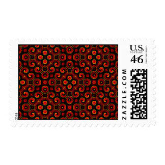 Burning Red Magma Waves Small Paper Cut Out Postage Stamps