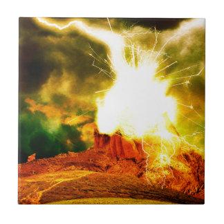 Burning Rock Abstraction Ceramic Tile