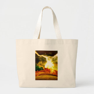 Burning Rock Abstraction Large Tote Bag