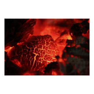 Burning Rock Ember on Fire Poster