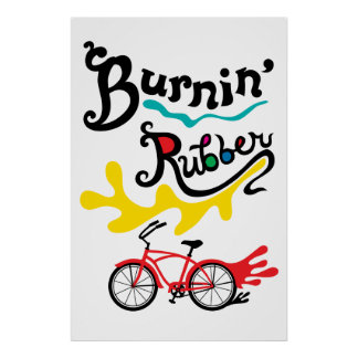 Burning Rubber - fat tire bike poster print