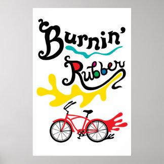 Burning Rubber - fat tire bike poster print
