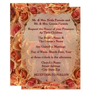 Burning Sand Roses Wedding Invitation