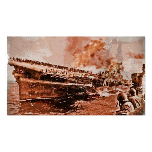 Burning Ship at Sea Business Card