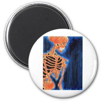 Burning Skeleton 2 Inch Round Magnet