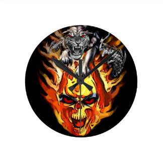 Burning Skull Panther Clock