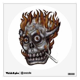 burning skull wall decal
