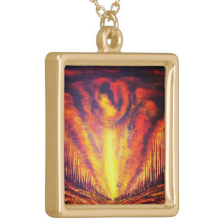 Burning Sky Square Pendant Necklace