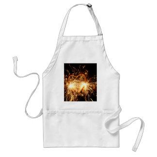 Burning sparkler in form of a heart adult apron