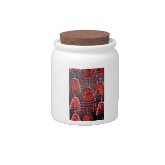 Burning spiral incense coils candy jar