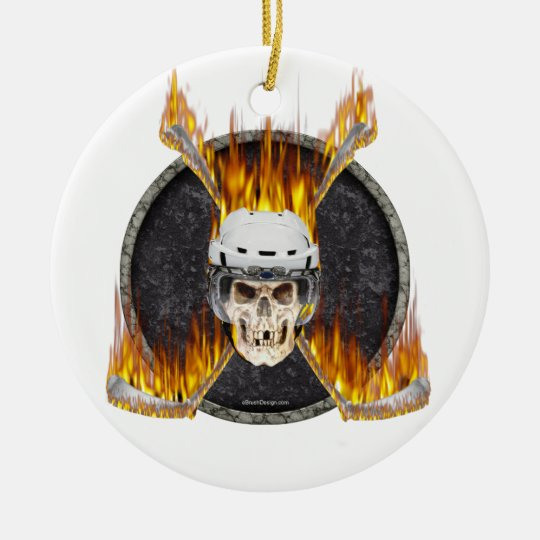 Burning Sticks Ceramic Ornament