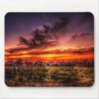Burning Sunset Fire Mouse Pad