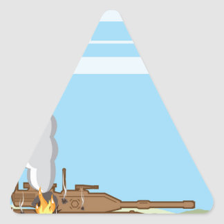 Burning Tank Triangle Sticker