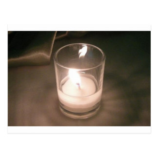 Burning Tea Light Candle with Brown Backdrop Post Card