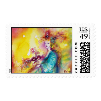 BURNING THE CARNIVAL / Venetian Masquerade Dance Postage Stamp